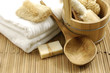 bath accessories on the bamboo mat - 12132152