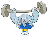 Weightlifter bunny poster