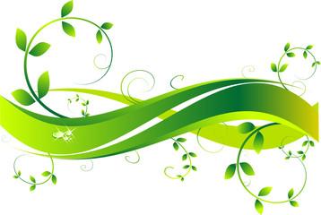 Green Lines Drop Water