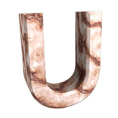 3d letter U in marble