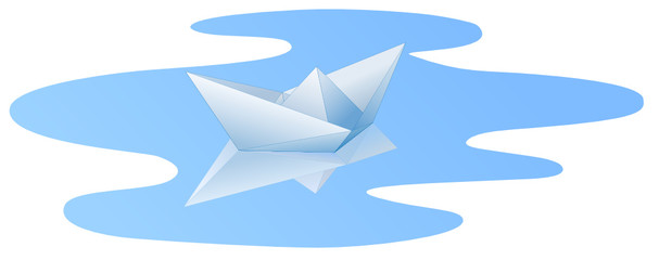 White paper ship with reflection in blue water