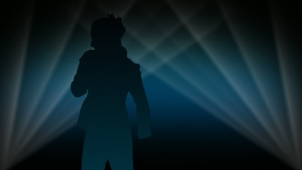 Woman dancing in spotlight