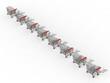 Trolleys in row