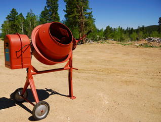 Cement mixer on a new construction site