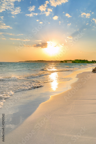 Canvas Meer Tranquil Beach Sunset