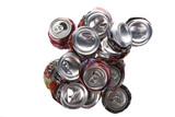 Pop cans crushed and ready for recycling. poster