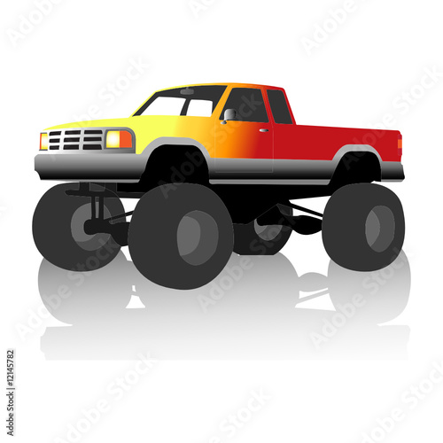 Foto op Canvas Cartoon cars flame monster truck
