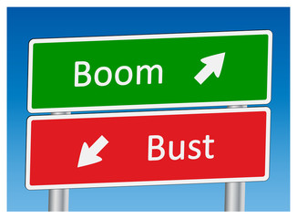 """Boom"" & ""Bust"" signposts"