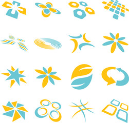 Two Color Abstract Vector Logo Design Elements