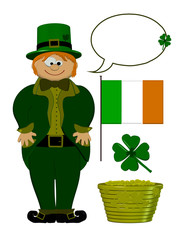 Saint Patricks Day - Cartoon Set With Leprechaun