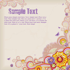 floral background with banner for your text