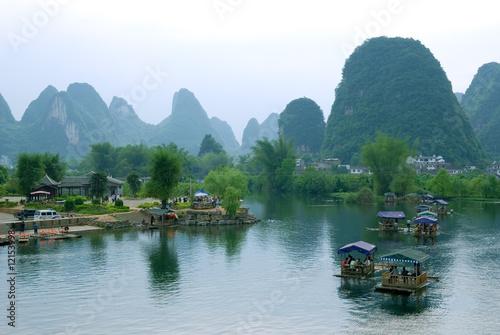Bamboo raft at the Ulong river near Yangshuo