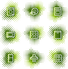 Home appliances web icons, green dots series