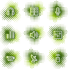 Media web icons, green dots series