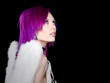 Purple Haired Girl with Angel Wings