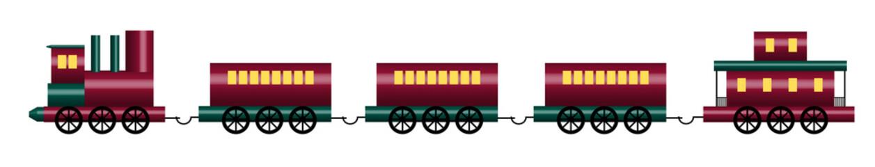 illustration of shiny toy train on white