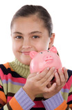 Adorable girl with moneybox poster