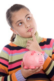 Adorable girl with moneybox thinking poster