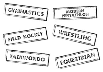 Stamp marks with sport names on it over white
