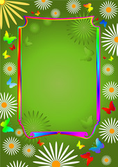 Green  floral summer background  with butterflies and  flowers
