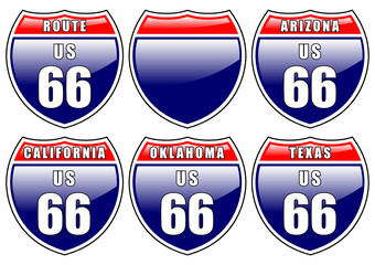 Interstate road signs isolated over white background