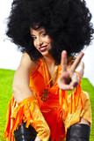 Girl with afro wig poster