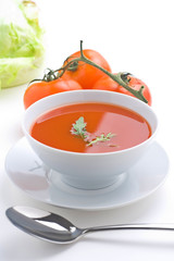 delicious and healthy homemade tomato soup and vegetables