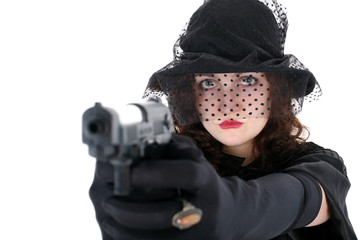 girl in hat with gun isolated on white