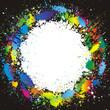Color paint splashes border. Gradient vector background