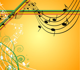 Background with music and shape and flower