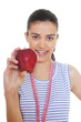 young woman holding red apple and measuring tape