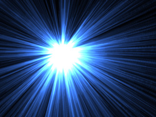 blue rays, shine in dark