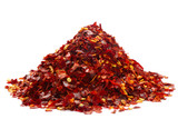 a pile of crushed chillies on white, bright red color poster