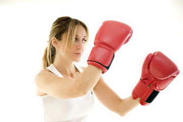 kick boxer woman training