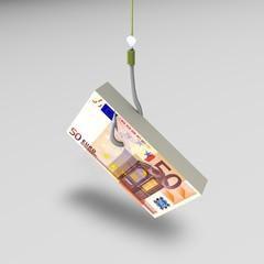 Amo  con esca in denaro. Concetto di rischio,truffa,frode.