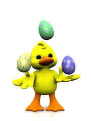 Cartoon chicken juggling easter eggs
