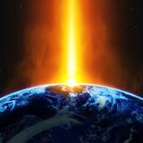 Fototapety 地球と紅の光線