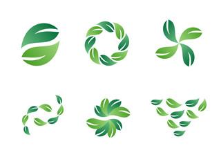 Environmental Green Leaf Vector Logo Design Elements