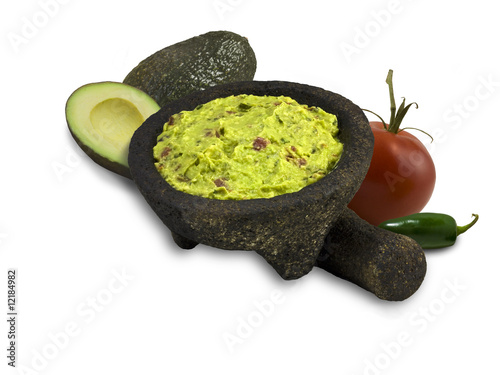 Guacamole illustrating ingredients