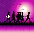 Children group on nature, night scene