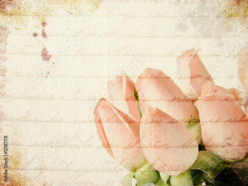 Deurstickers Retro Grunge little pink roses background