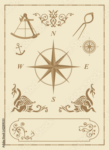 set of old nautical symbols and  design elements