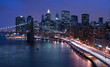 New York City and Brooklyn Bridge at night