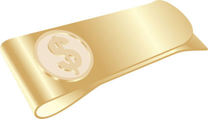 isolated golden money clip with dollar symbol