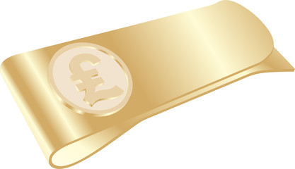 isolated golden money clip with pound symbol