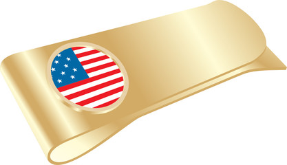 isolated golden money clip with USA flag