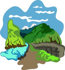 Himalayan landscape background vector