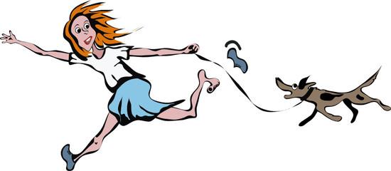 Chica joven corriendo con su perrito vector