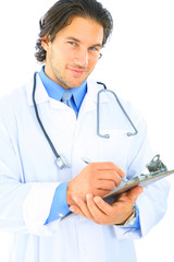 Isolated Smiling Doctor Looking At Viewer