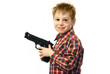 cheerful boy with a gun